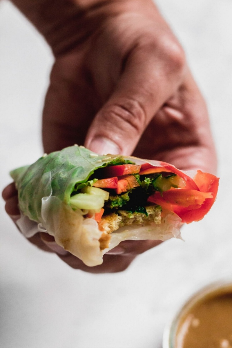 hand holding tofu spring roll with vegetables