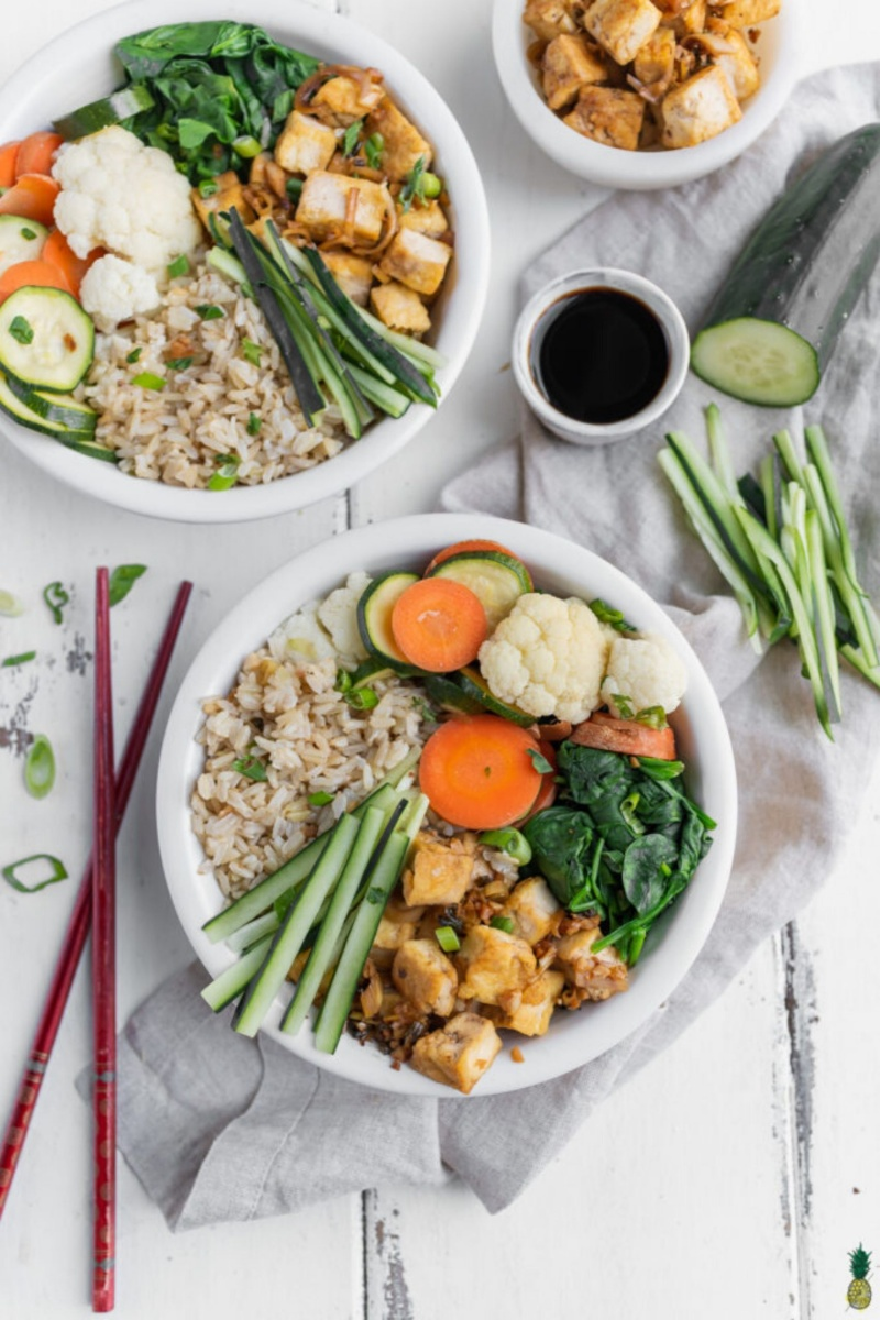 two bowls of lemongrass tofu dinners