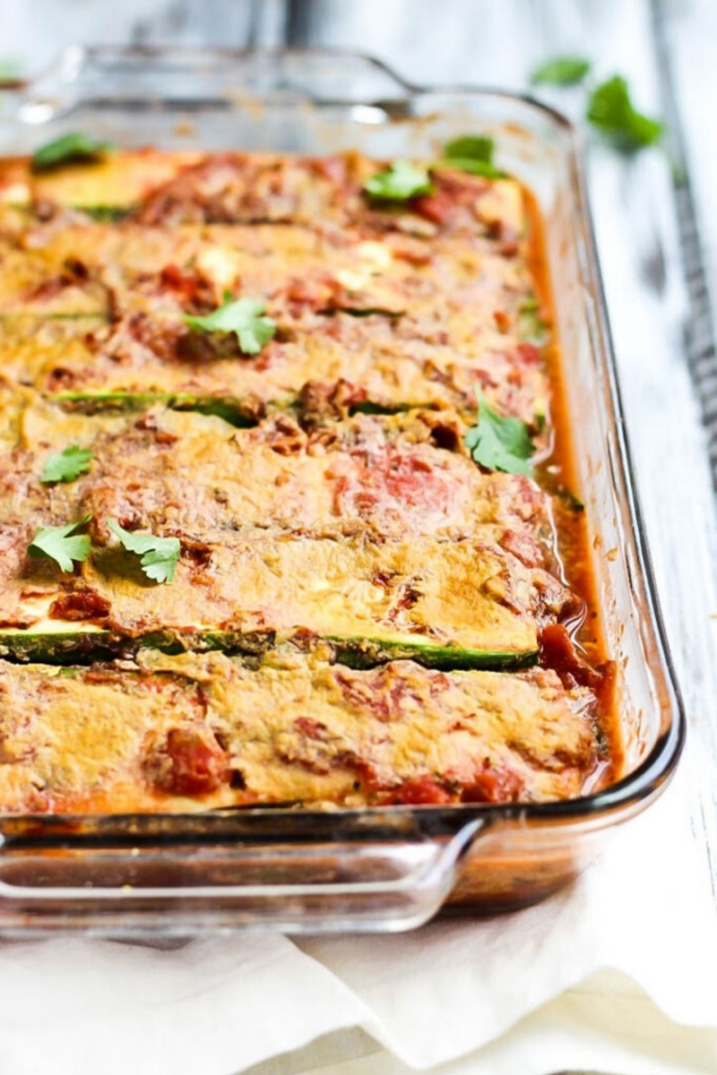 casserole dish with zucchini lasagna noodles