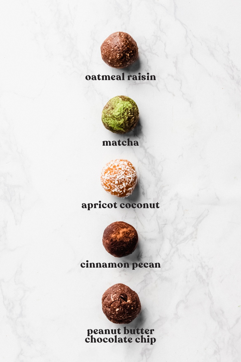 five vegan no bake energy balls