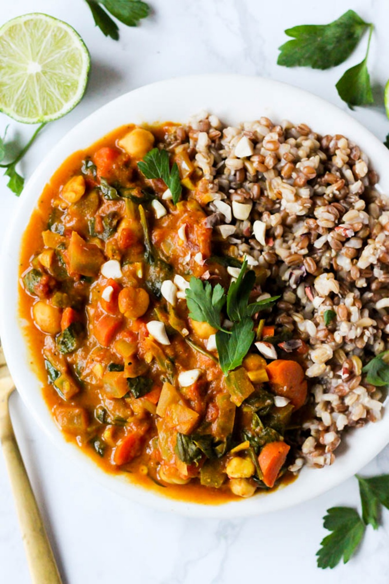 white bowl with chickpea stew
