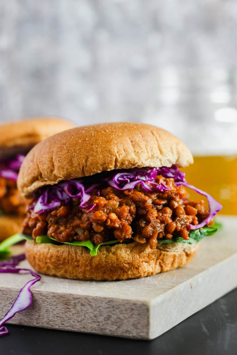 bun with purple cabbage and brown lentil sloppy joe for a pantry meal