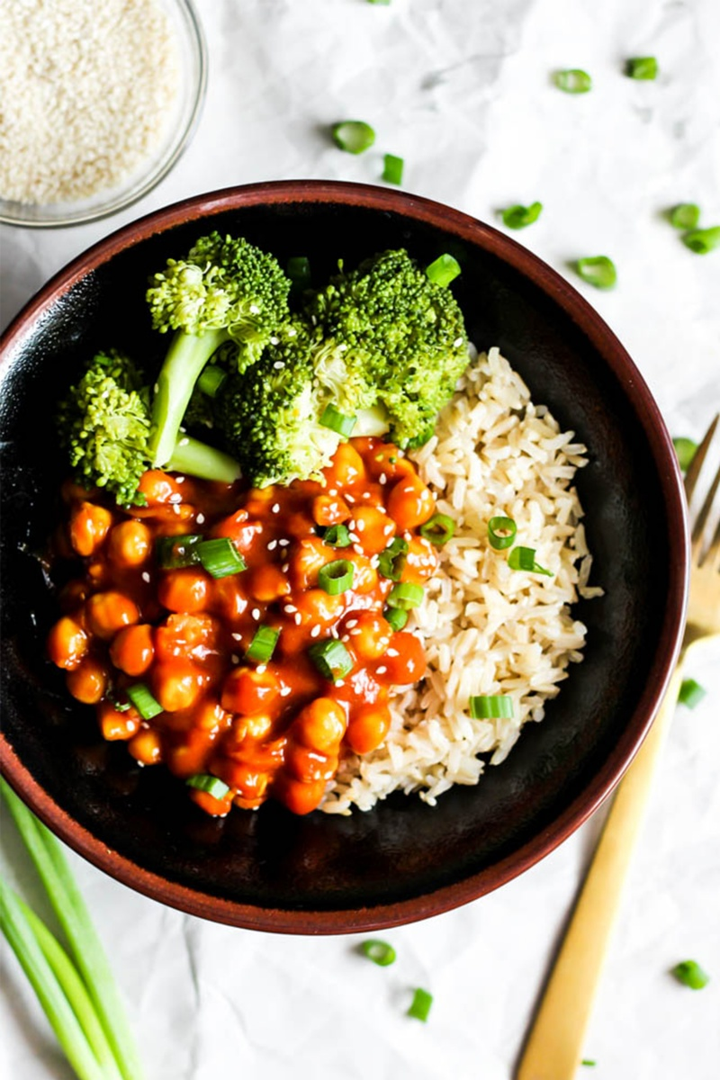 vegan pantry meal of sweet and sour chickpeas
