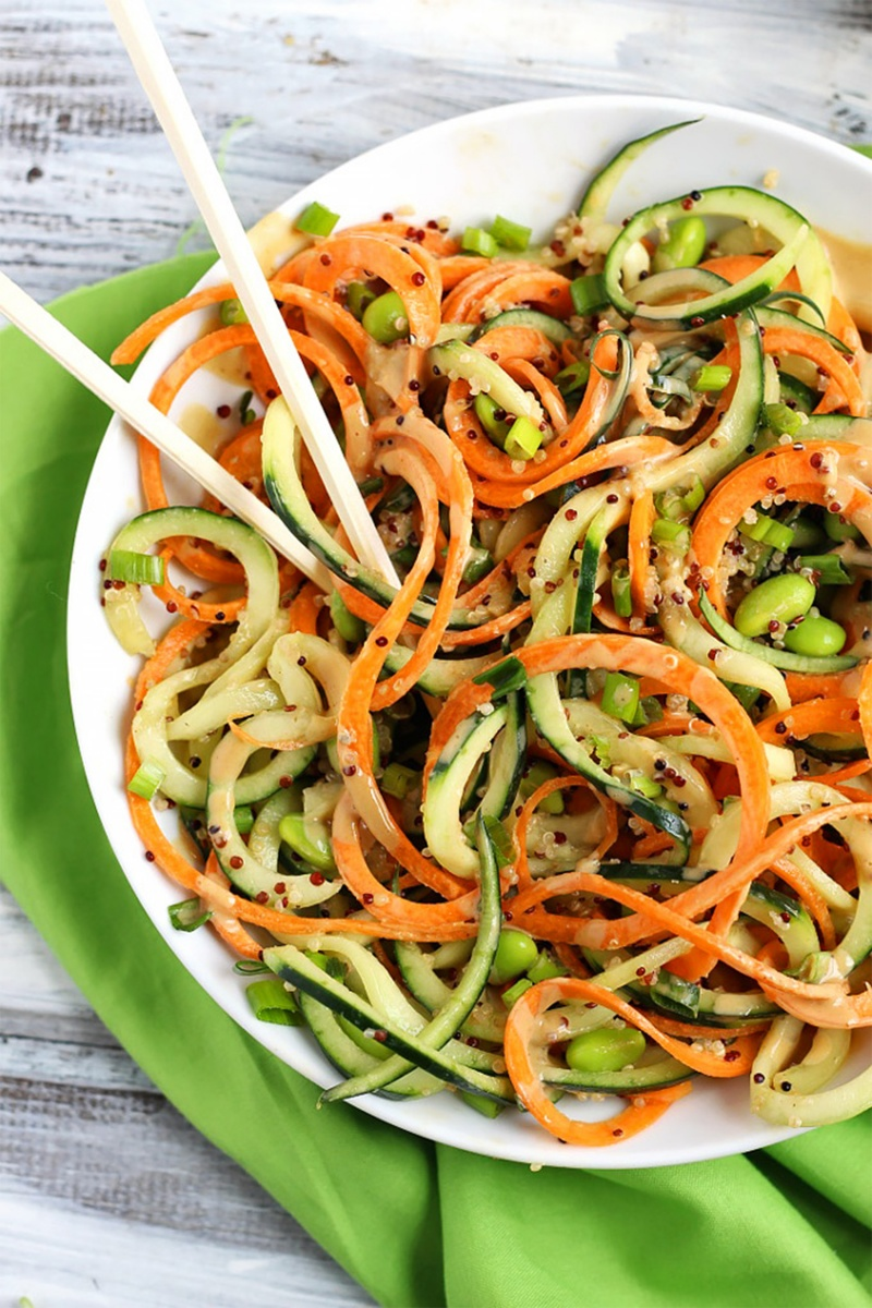 spirals of carrot and zucchini