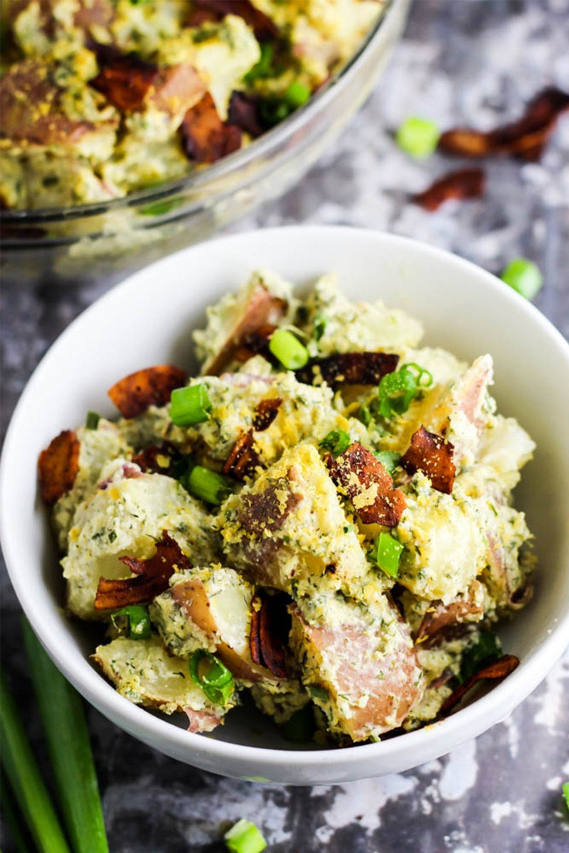 filling potato salad vegan in white bowl