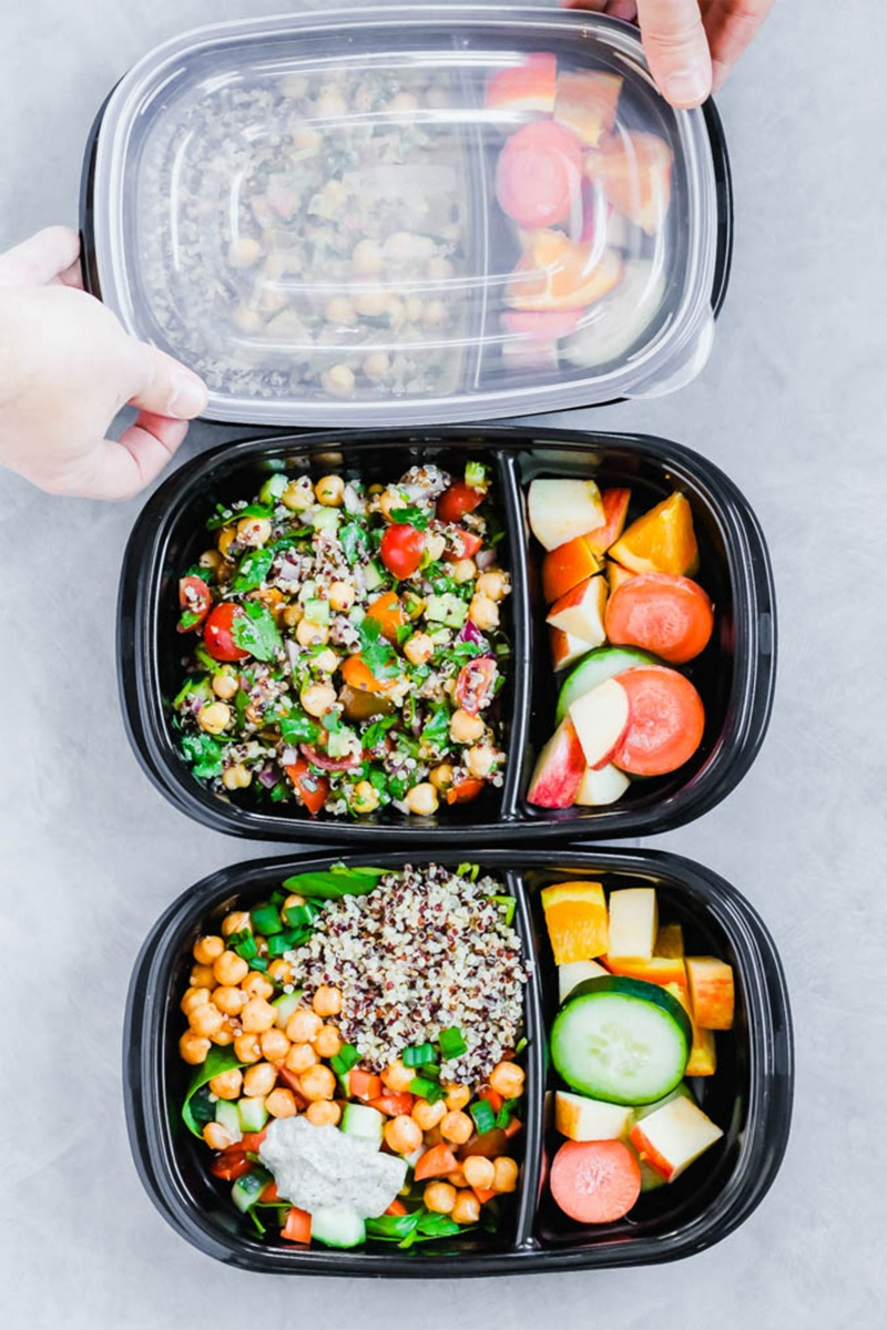 three tupperware containers of vegan meal prep