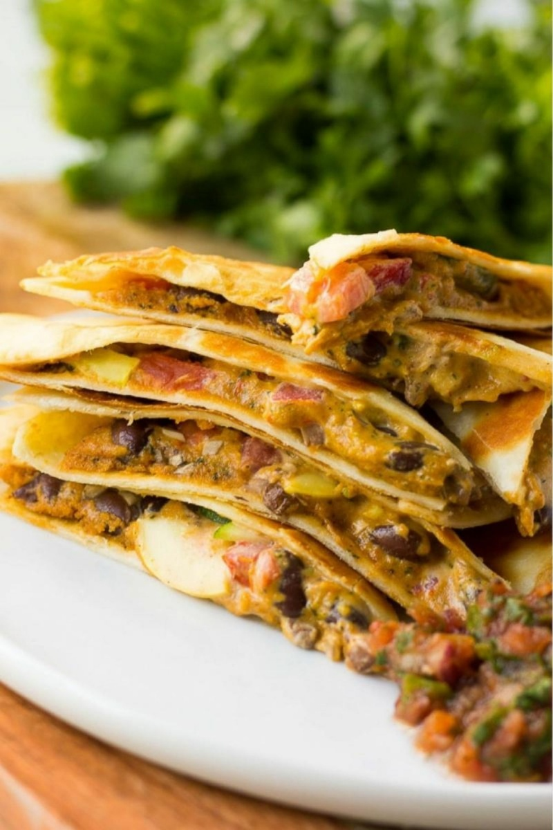 stack of vegan quesadillas
