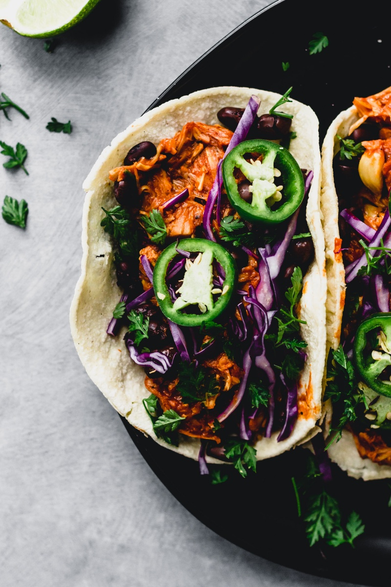 birds eye view of vegan bbq jackfruit taco