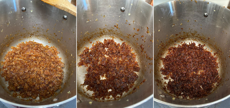 collage of three images showing a pot of onions at different stages of being cooked, light brown to dark brown