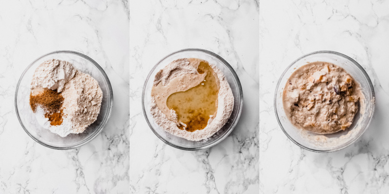 a collage of three images depicting dry mix, wet ingredients, and final batter