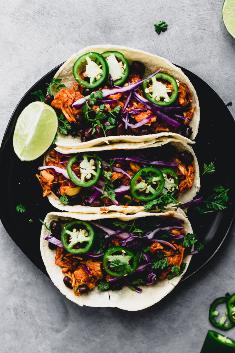 a plate of barbecue jackfruit tacos
