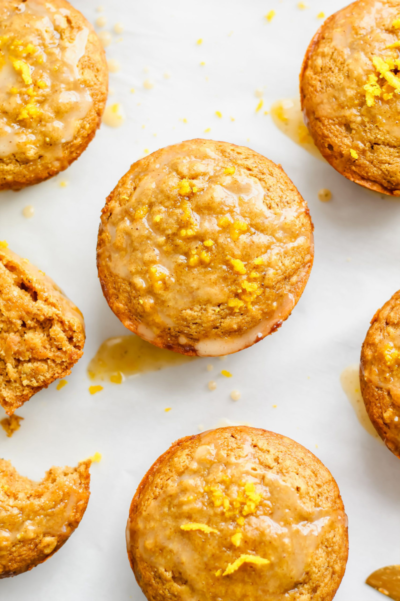 An overhead shot of orange muffins