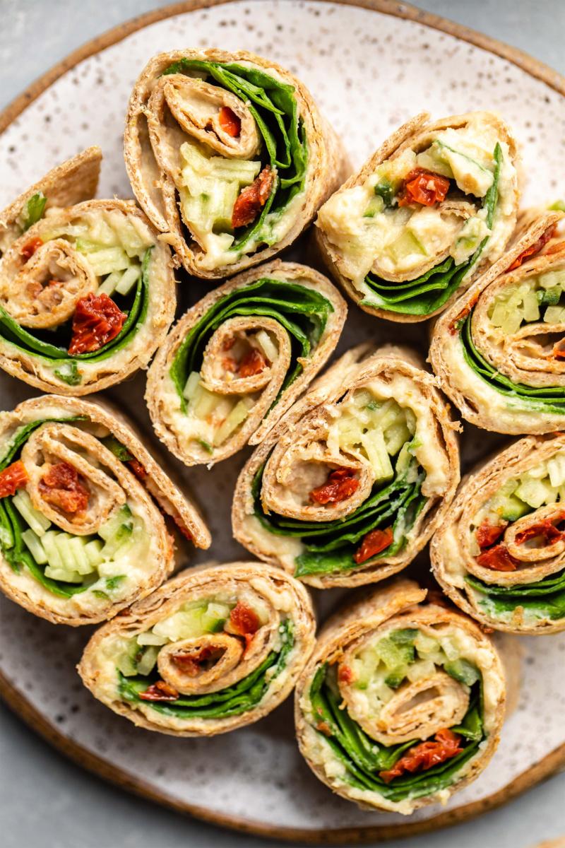 vegan pinwheels filled with veggies and hummus