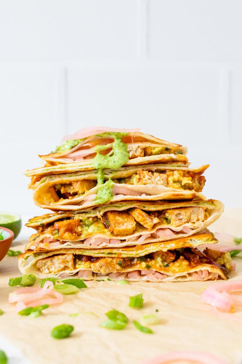 a vegan chicken wrap
