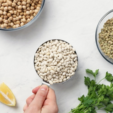 a measuring cup of dried white beans next to a lemon wedge, a sprig of parsley, a bowl of lentils and a bowl of chickpeas
