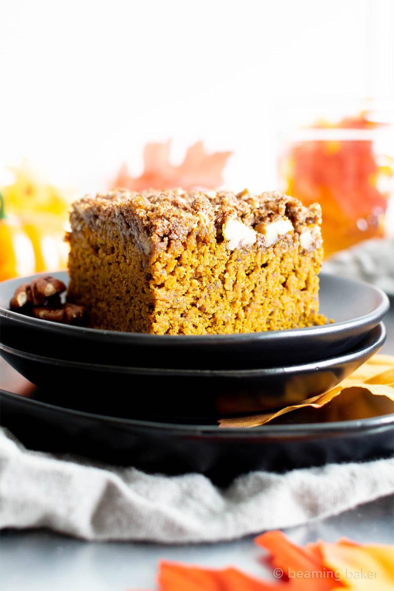 a plate of vegan pumpkin coffee cake