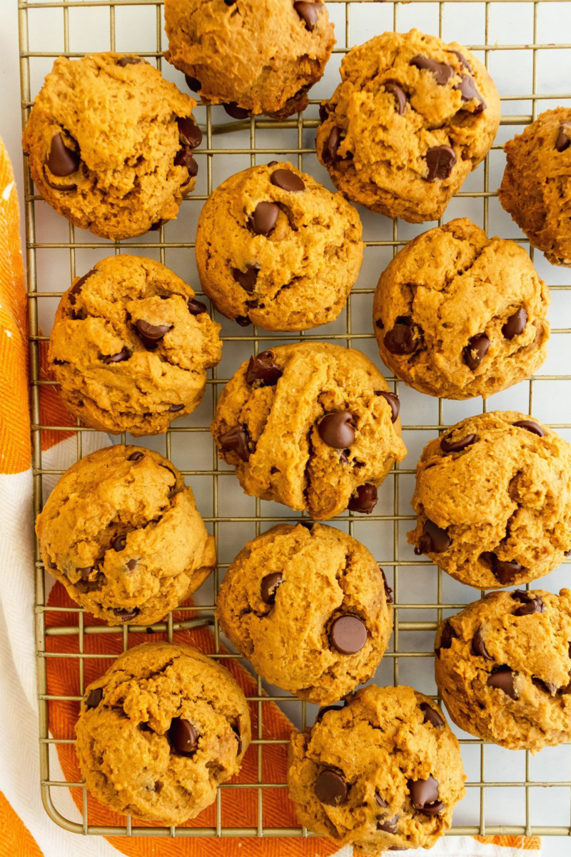 a batch of pumpkin chocolate chip cookies resting on a cooling rack